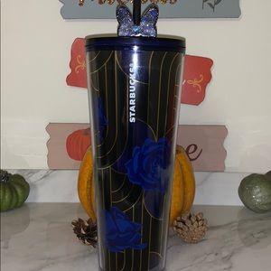 Starbucks blue roses with gold tumbler